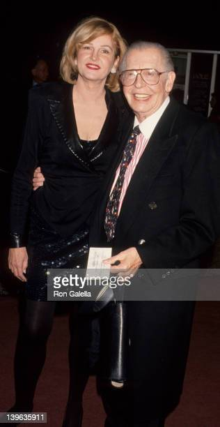 """Comedian Milton Berle and wife Lorna Adams attending the opening of """"Guys and Dolls"""" on November 11, 1993 at the Pantages Theater in Hollywood,..."""
