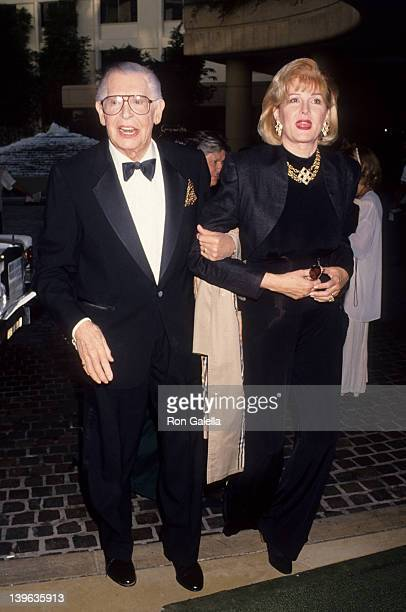 Comedian Milton Berle and wife Lorna Adams attending the opening of Guys and Dolls on November 11 1993 at the Pantages Theater in Hollywood California