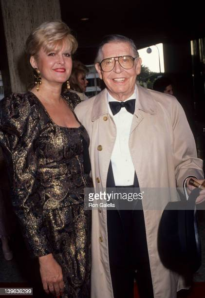"""Comedian Milton Berle and wife Lorna Adams attending the premiere of """"City Of Angels"""" on June 12, 1991 at the Shubert Theater in Century City,..."""