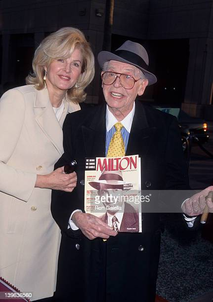Comedian Milton Berle and wife Lorna Adams attending the screning of 50 Years of Television on April 16 1997 at the Academy Theater in Beverly Hills...