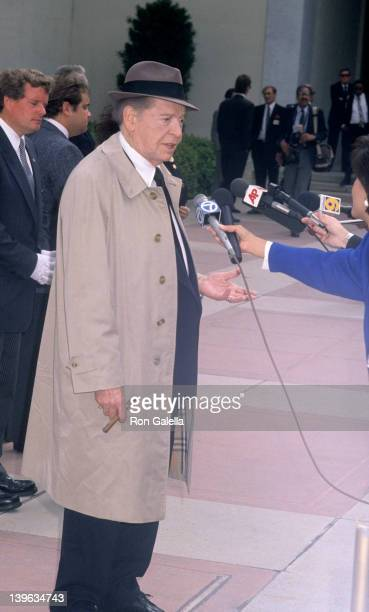 Comedian Milton Berle attending Funeral Service for Sammy Davis Jr on May 18 1990 at Forest Lawn Memorial Park in Los Angeles California