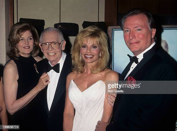 Comedian Milton Berle wife Lorna Adams actress Loni Anderson and Geoff Brown attending 88th Birthday Party for Milton Berle on July 12 1996 at the...