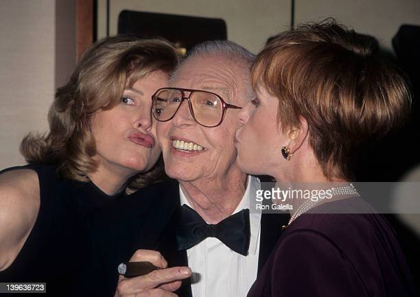 Comedian Milton Berle wife Lorna Adams and actress attending 88th Birthday Party for Milton Berle on July 12 1996 at the Alfred Dunhill Store in...