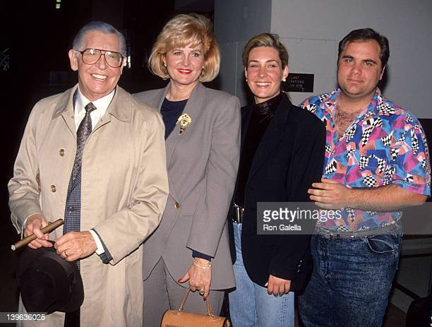 """Comedian Milton Berle, wife Lorna Adams, son and daughter attending """"Bob Hope Special"""" on March 1, 1992 at NBC Studios in Burbank, California."""