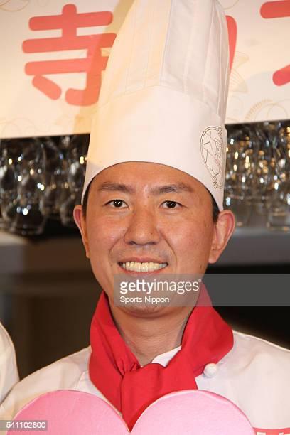 Comedian Mitsunori Fukuda of Tutorial attends the Daikakuji Cafe PR event on February 14 2016 in Tokyo Japan