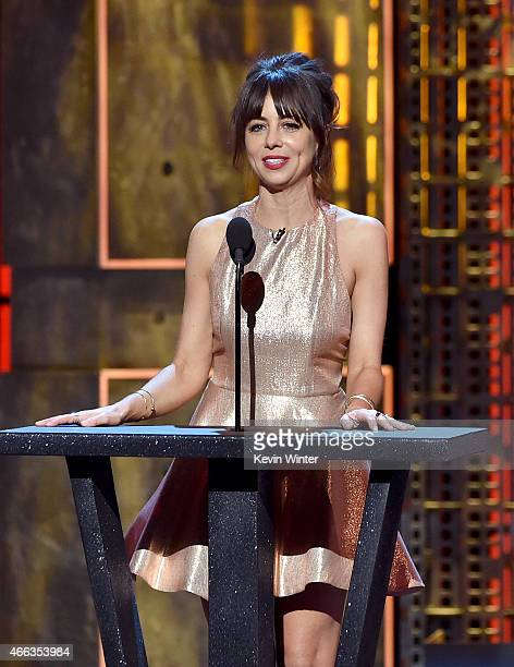Comedian Natasha Leggero speaks onstage at The Comedy Central Roast of Justin Bieber at Sony Pictures Studios on March 14 2015 in Los Angeles...