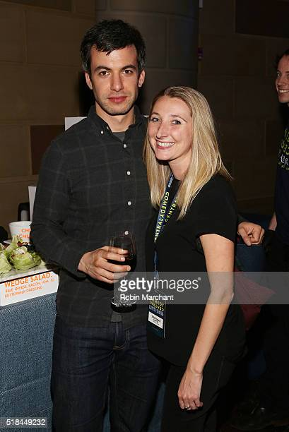 Comedian Nathan Fielder and Stephanie Shortell attend the Comedy Central Live 2016 upfront afterparty at Gotham Hall on March 31 2016 in New York City