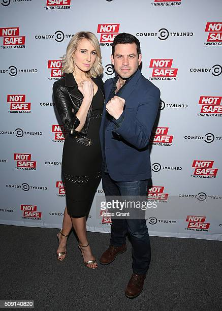 Comedian Nikki Glaser and executive producer Chris Convy attend the Not Safe With Nikki Glaser Season One Premiere Party at The London on February 8...