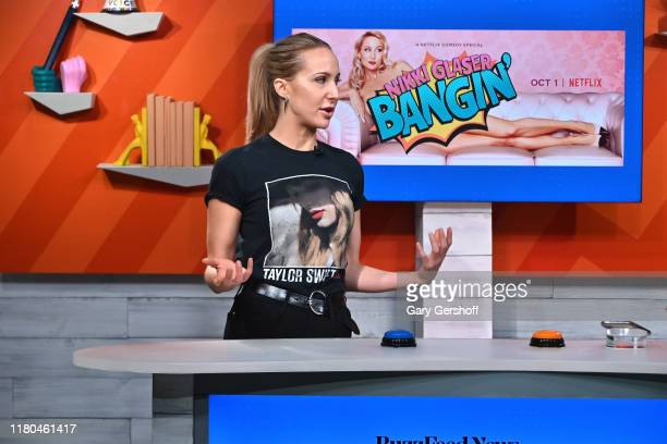 Comedian Nikki Glaser visits BuzzFeed's Am To DM' to discuss her Netflix comedy special Bangin on October 11 2019 in New York City