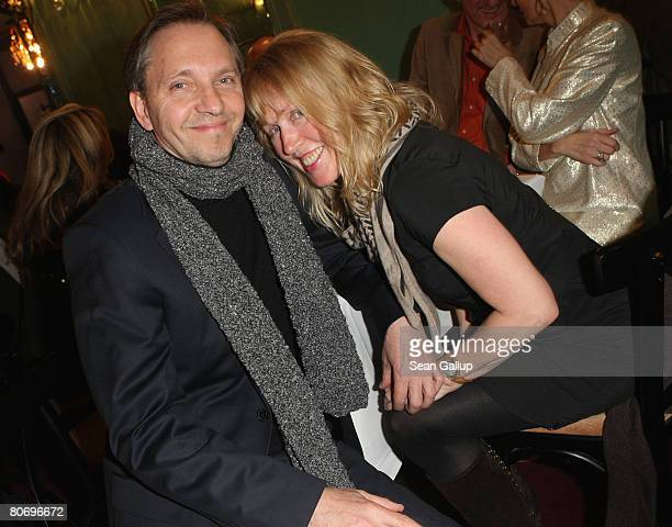 Comedian Oli Dietrich and singer Annette Humpe attend the performance of The Beatles revival band Rain The Beatles Experience at the Renaissance...