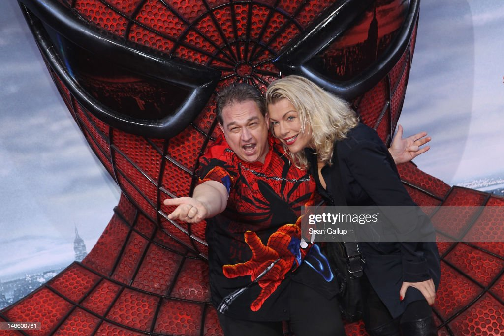 Comedian Oliver Kalkofe and his Connie Kalkofe attend the Germany premiere of 'The Amazing Spider-Man' at Sony Center on June 20, 2012 in Berlin, Germany.