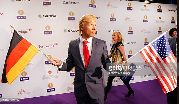 Comedian Oliver Pocher dressed as Donald Trump attends the Echo Award 2016 on April 07 2016 in Berlin Germany
