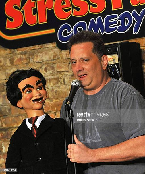 Comedian Otto Petersen and his dummy 'George' of Otto George performs at the Jonathan Dayton HS Project Gradation Benefit show at The Stress Factory...