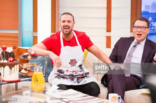 Comedian Paddy McGuinness pictured with Richard Arnold raises money for Comic Relief by appearing on multiple TV shows in one day at Good Morning...