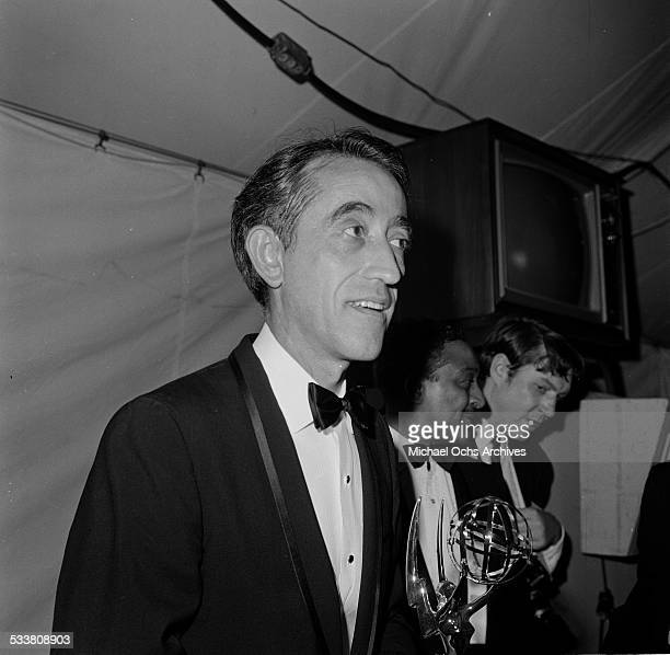 """Comedian Pat Paulsen poses with his Prime time Emmy Award for """"Special Classification of Individual Achievements"""" at the Hollywood Palladium in Los..."""