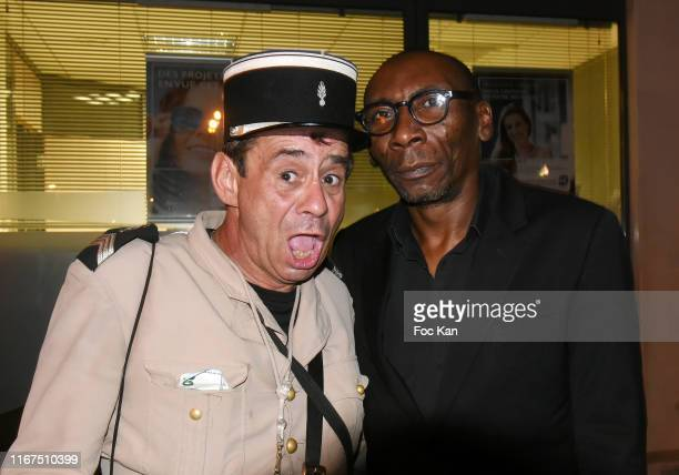 Comedian Patrick Chagnaud and VIP Room Security man Papish attend the VIP Room Saint Tropez Party at VIP Room Saint Tropez on August 11, 2019 in...
