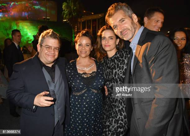 Comedian Patton Oswalt actors Meredith Salenger Amanda Peet and executive producer David Benioff at the Los Angeles Premiere for the seventh season...