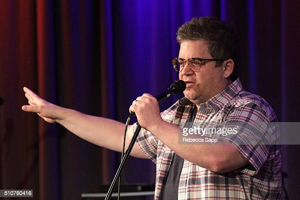 Comedian Patton Oswalt performs at AUDIBLE IMPACT Music Activism Hosted By Tig Notaro at The GRAMMY Museum on February 16 2016 in Los Angeles...