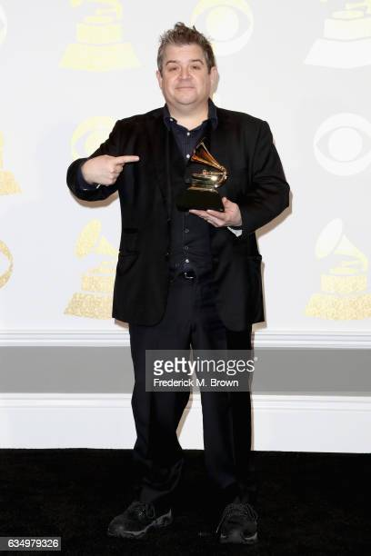 Comedian Patton Oswalt winner of Best Comedy Album for 'Talking for Clapping' poses in the press room during The 59th GRAMMY Awards at STAPLES Center...