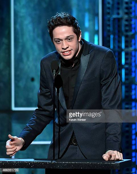 Comedian Pete Davidson speaks onstage at The Comedy Central Roast of Justin Bieber at Sony Pictures Studios on March 14 2015 in Los Angeles...