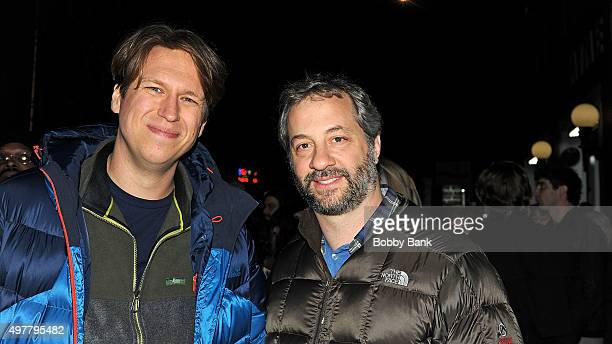Comedian Pete Holmes and director Judd Apatow on the set of HBO's pilot Crashing on November 18 2015 in New York City