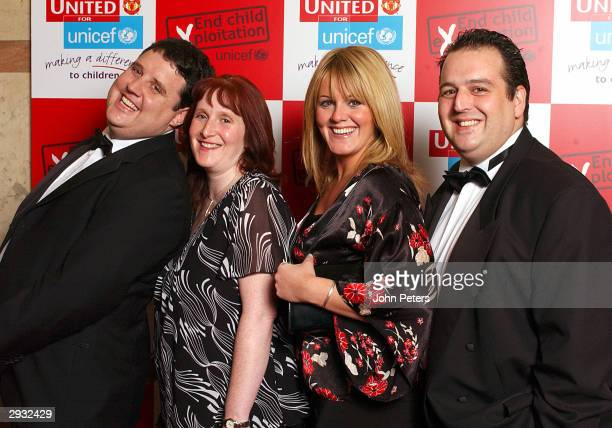 Comedian Peter Kay his wife Susan Coronation Street's Sally Lindsay and comedian Justin Moorhouse pose before The Annual United For Unicef charity...