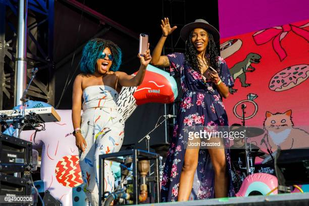 Comedian Phoebe Robinson and Jessica Williams of '2 Dope Queens' join Tegan and Sara on stage during the Bonnaroo Music Arts Festival on June 10 2017...