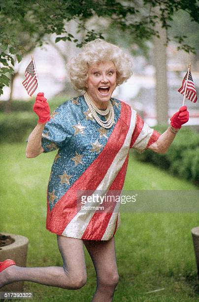 Comedian Phyllis Diller celebrates Flag Day with a dress she purchased 25 years ago
