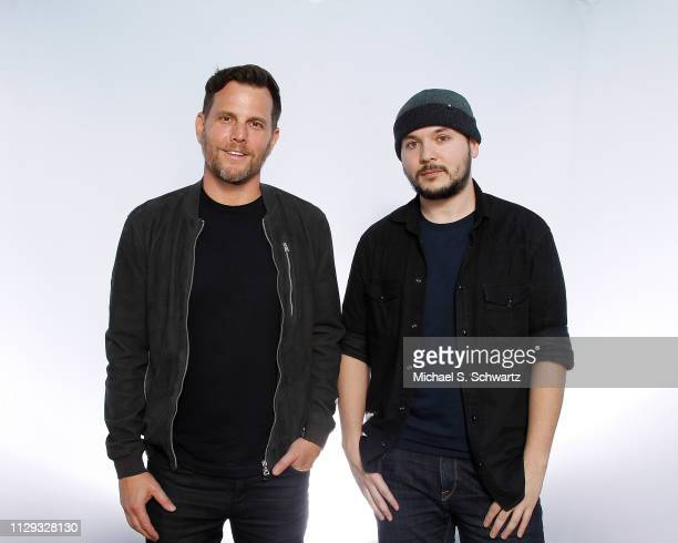 Comedian political commentator and TV personality Dave Rubin and journalist Tim Pool pose during their appearance at The Ice House Comedy Club on...