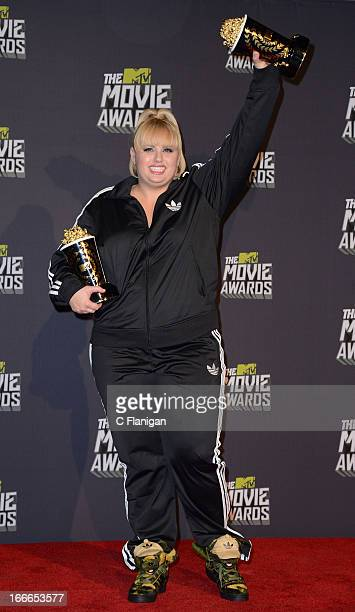 Comedian Rebel Wilson poses backstage during the 2013 MTV Movie Awards at Sony Pictures Studios on April 14 2013 in Culver City California