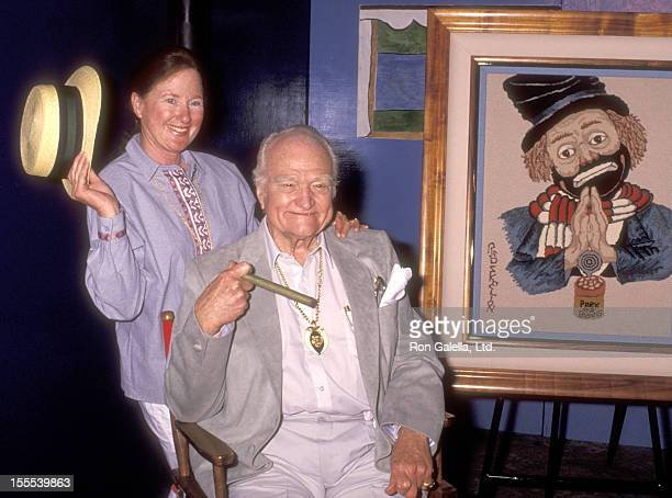 Comedian Red Skelton and wife Lothian Toland attend Red Skelton's 78th Birthday Celebration and Art Exhibition Weekend Extravaganza on July 21 1991...