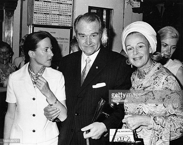 Comedian Red Skelton wife Lothian Toland and guest attend the performance of Follies on June 22 1971 at the Winter Garden Theater in New York City