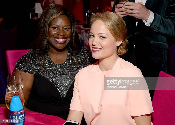 Comedian Retta and actress Erika Christensen attend the 24th Annual Elton John AIDS Foundation's Oscar Viewing Party at The City of West Hollywood...