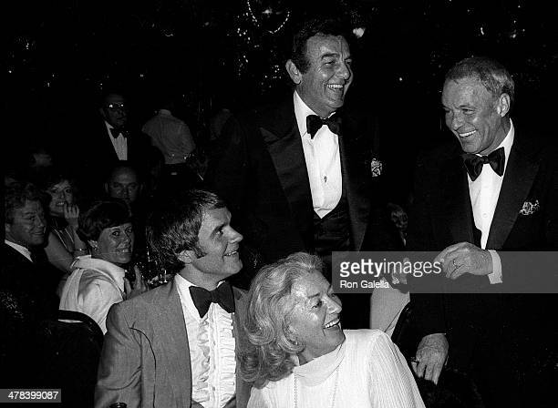 Comedian Rich Little actor Mike Connors and singer Frank Sinatra attend Frank Sinatra Hosts A Valentine LoveIn Frank His Friends His Food Gala to...