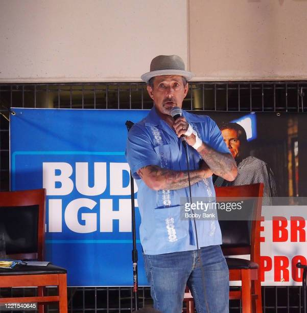Comedian Rich Vos performs at the outdoor patio at The Stress Factory Comedy Club on June 20, 2020 in New Brunswick, New Jersey.