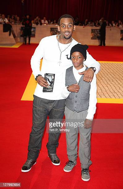 Comedian Richard Blackwood and son Keaun attend the E One presents the world exclusive premiere of 'The Three Musketeers' at Vue Westfield on October...