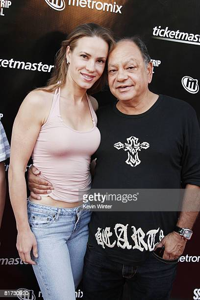 Comedian Richard Cheech Marin and his girlfriend musician Natasha Rubin arrive at the Sunset Strip Music Festival's opening night ceremony at the...