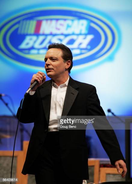 Comedian Richard Jeni performs during the NASCAR Busch Series Banquet at the Portofino Bay Hotel on December 9, 2005 in Orlando, Florida.