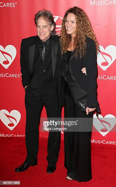 Comedian Richard Lewis and Joyce Lapinsky attend the 2015 MusiCares Person of the Year Gala honoring Bob Dylan at the Los Angeles Convention Center...