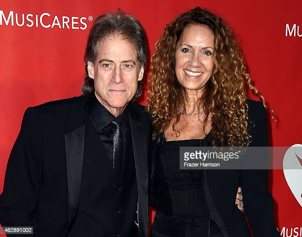 Comedian Richard Lewis and Joyce Lapinsky attend the 25th anniversary MusiCares 2015 Person Of The Year Gala honoring Bob Dylan at the Los Angeles...