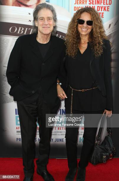 Comedian Richard Lewis and Joyce Lapinsky attend the premiere of HBO's If You're Not In The Obit Eat Breakfast at Samuel Goldwyn Theater on May 17...