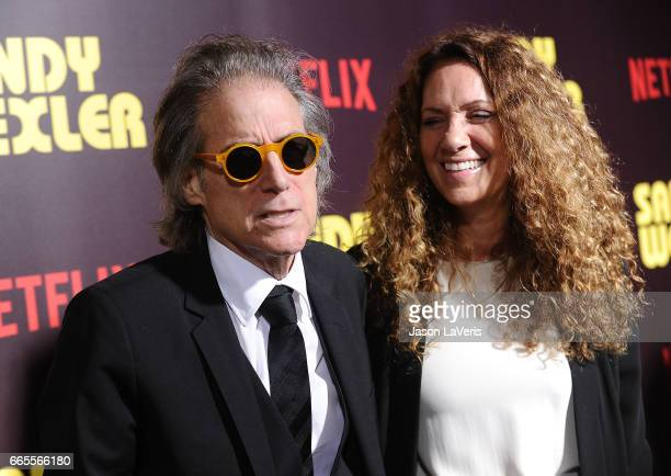 Comedian Richard Lewis and wife Joyce Lapinsky attend the premiere of Sandy Wexler at ArcLight Cinemas Cinerama Dome on April 6 2017 in Hollywood...