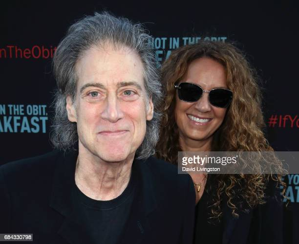 Comedian Richard Lewis and wife Joyce Lapinsky attend the premiere of HBO's If You're Not In The Obit Eat Breakfast at the Samuel Goldwyn Theater on...
