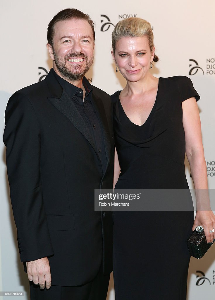 Comedian Ricky Gervais and author Jane Fallon attends the 2013 Novak Djokovic Dinner at Capitale on September 10, 2013 in New York City.