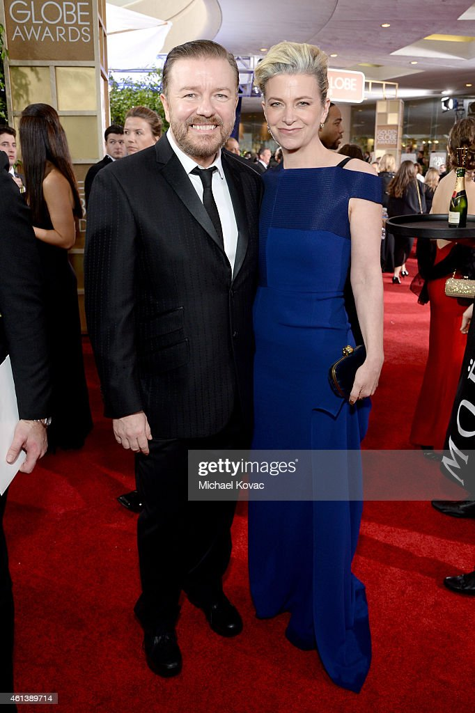 Comedian Ricky Gervais (L) and Jane Fallon attend the 72nd Annual Golden Globe Awards at The Beverly Hilton Hotel on January 11, 2015 in Beverly Hills, California.