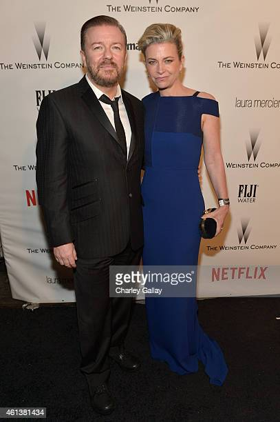 Comedian Ricky Gervais and Jane Fallon attend The Weinstein Company Netflix's 2015 Golden Globes After Party presented by FIJI Water Lexus Laura...