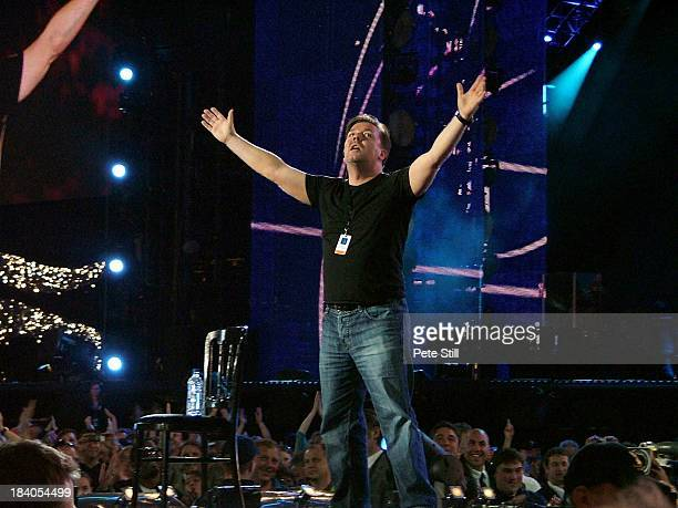 Comedian Ricky Gervais performs on stage at The Concert For Diana in Wembley Stadium on July 1st 2007 in London England