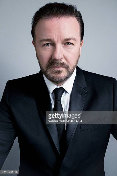 Comedian Ricky Gervais poses for a portrait at the 2016 AMD British Academy Britannia Awards presented by Jaguar Land Rover and American Airlines at...