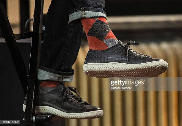 Comedian Rob Corddry sneaker detail visits AOL Build at AOL Studios In New York on March 17 2015 in New York City