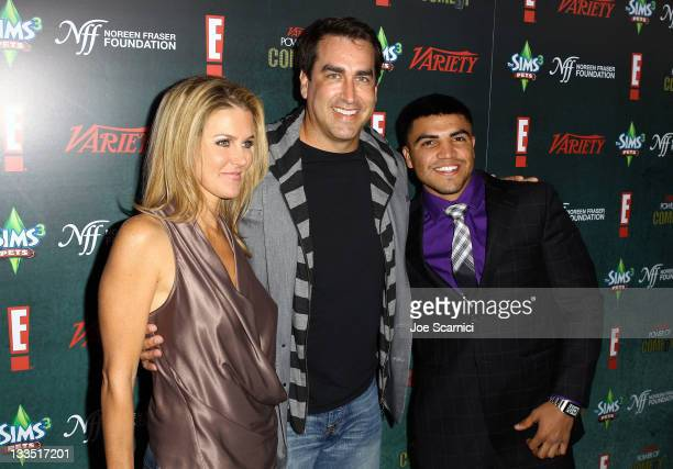 Comedian Rob Riggle his wife Tiffany Riggle and boxer Victor Ortiz arrive at Variety's Power Of Comedy Presented By The Sims 3 Benefiting The Noreen...